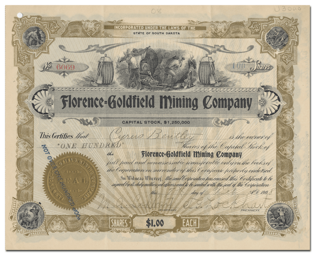 Florence-Goldfield Mining Company Stock Certificate