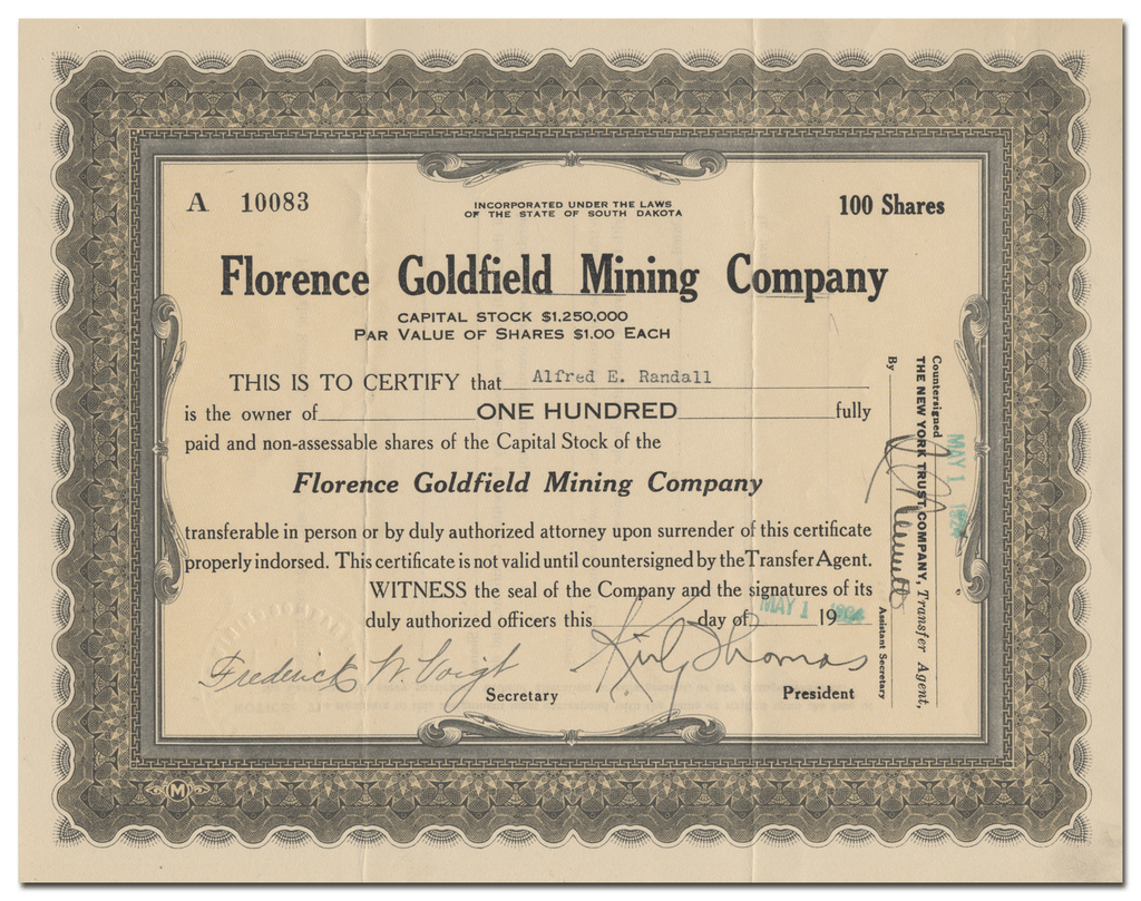 Florence Goldfield Mining Company Stock Certificate