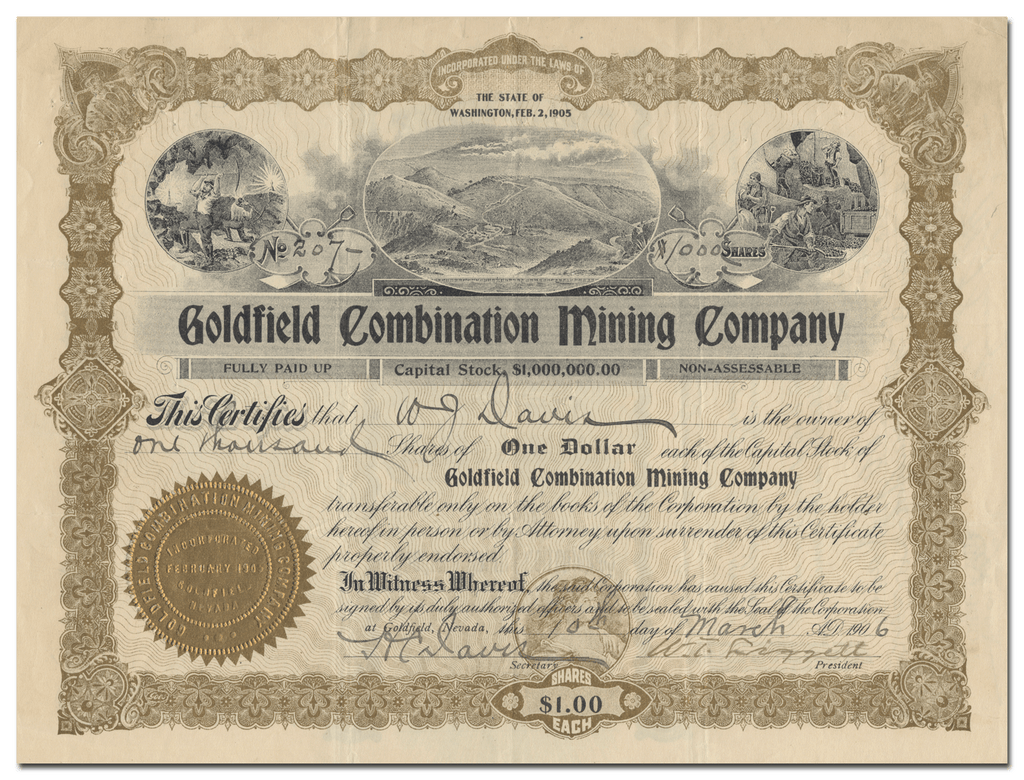 Goldfield Combination Mining Company Stock Certificate