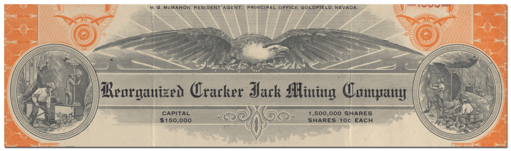 Reorganized Cracker Jack Mining Company Stock Certificate