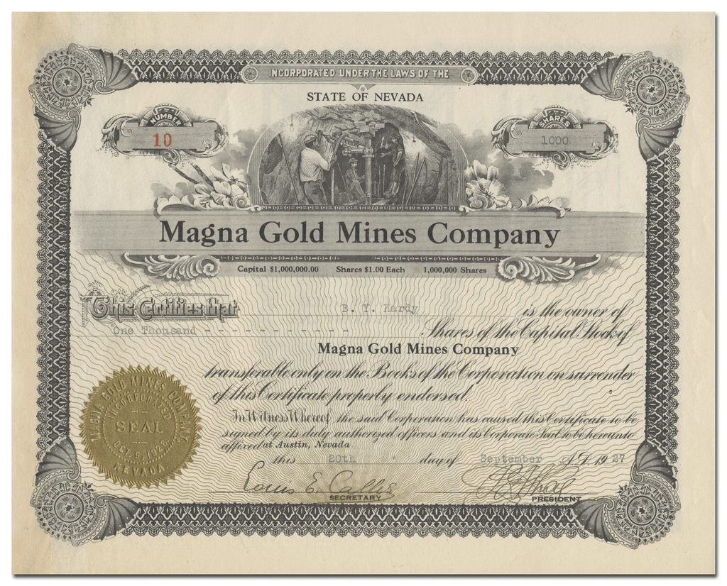 Magna Gold Mines Company Stock Certificate