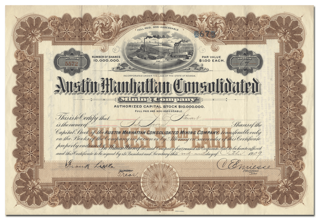 Austin Manhattan Consolidated Mining Company Stock Certificate