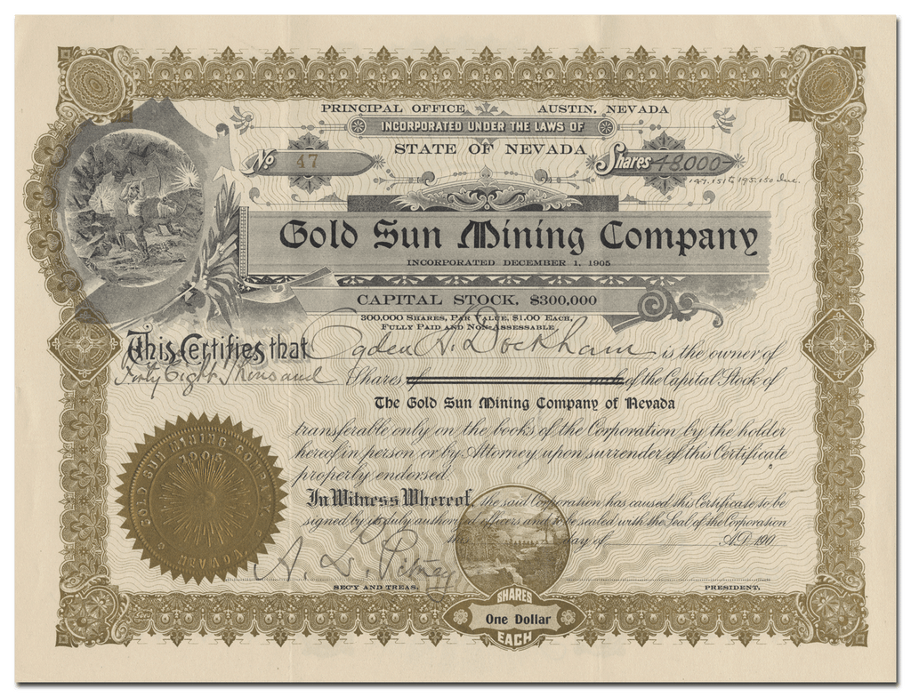 Gold Sun Mining Company Stock Certificate