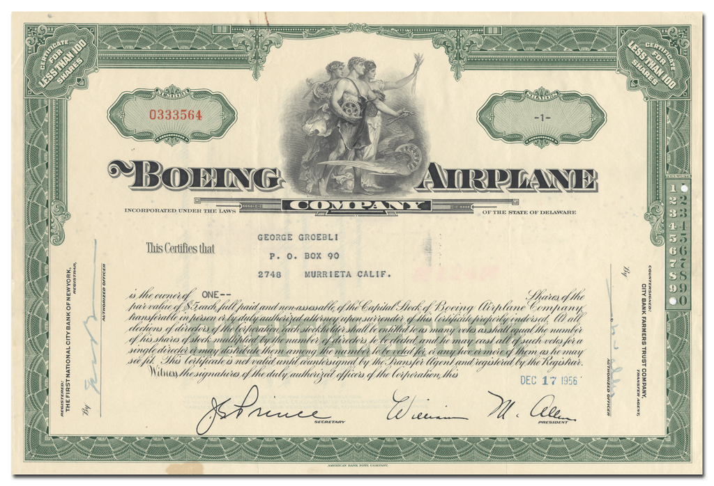 Boeing Airplane Company Stock Certificate