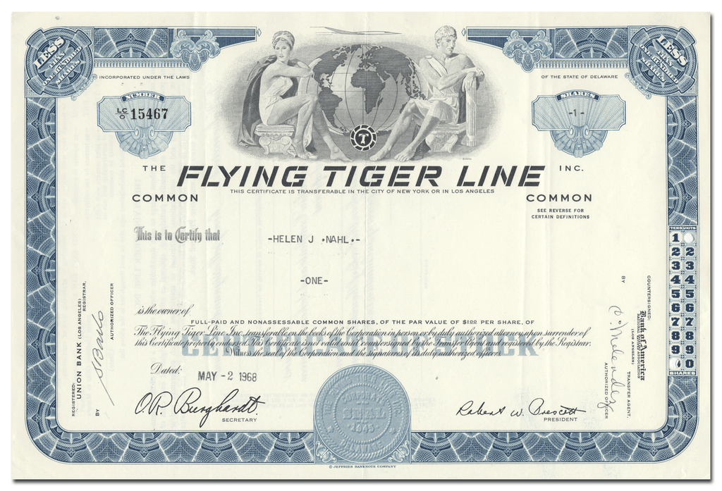Flying Tiger Line Inc. Stock Certificate