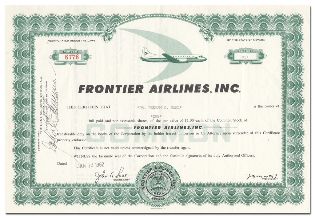 Frontier Airlines, Inc. Stock Certificate