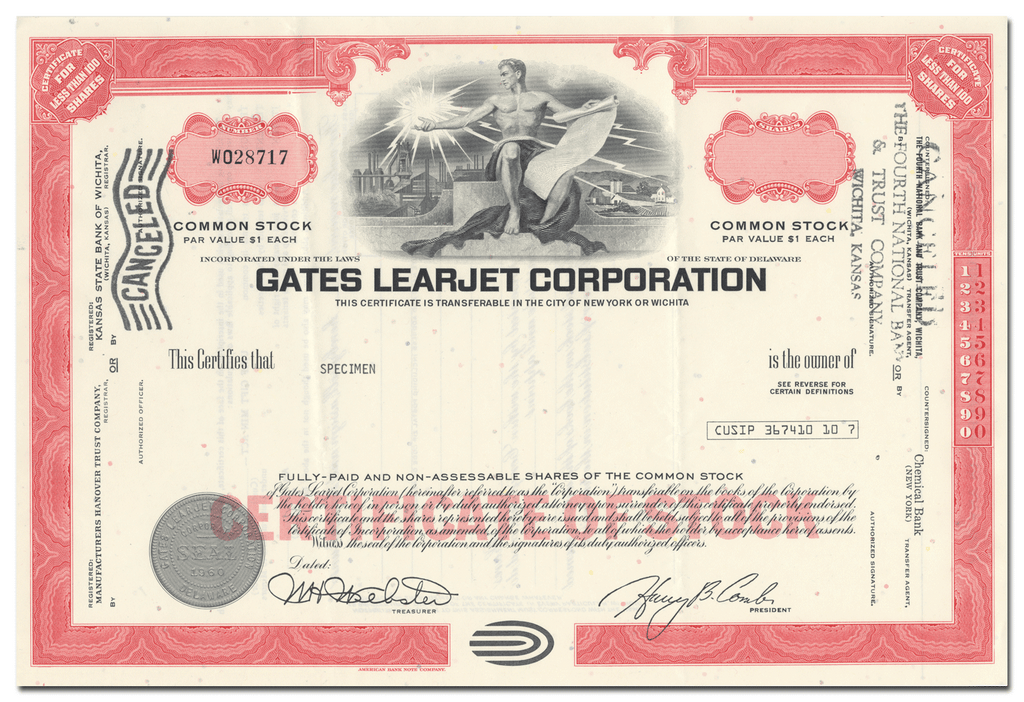 Gates Learjet Corporation Specimen Stock Certificate