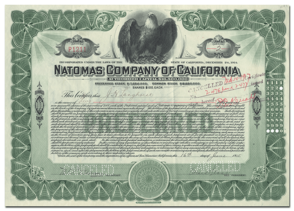 Natomas Company of California Stock Certificate