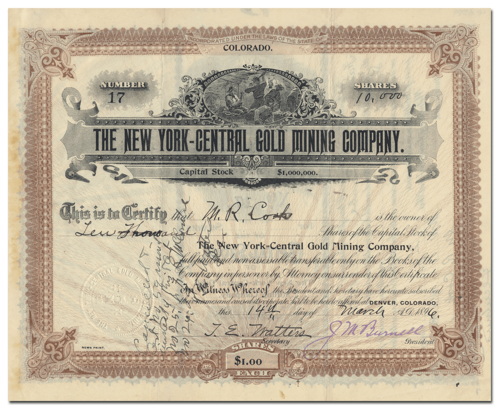 New York-Central Gold Mining Company (Colorado)