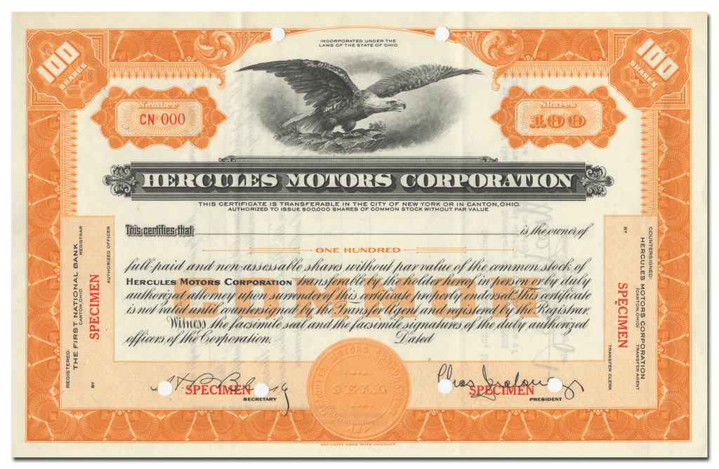 Hercules Motors Corporation Specimen Stock Certificate