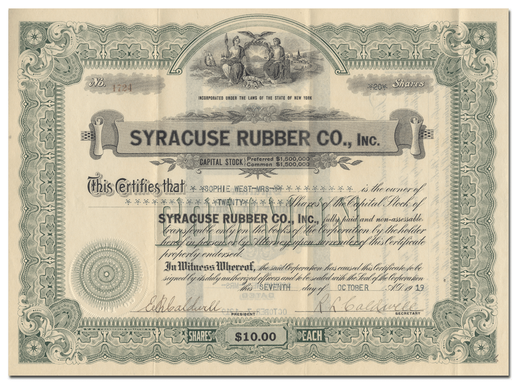 Syracuse Rubber Co., Inc. Stock Certificate