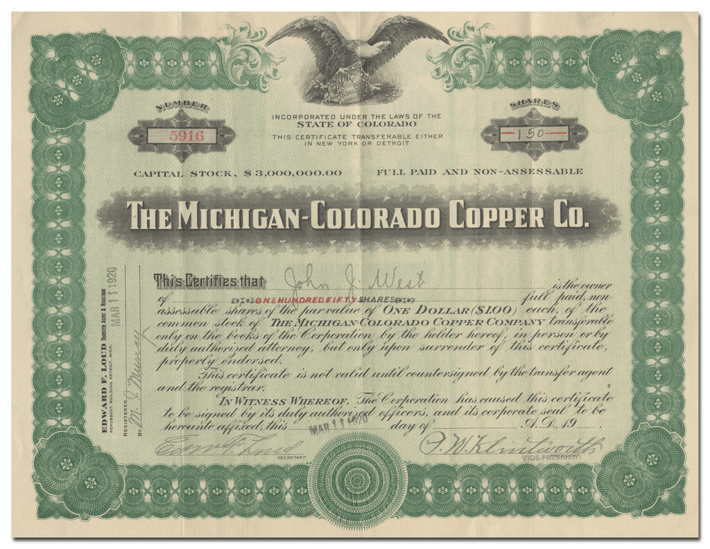 Michigan-Colorado Copper Company Stock Certificate