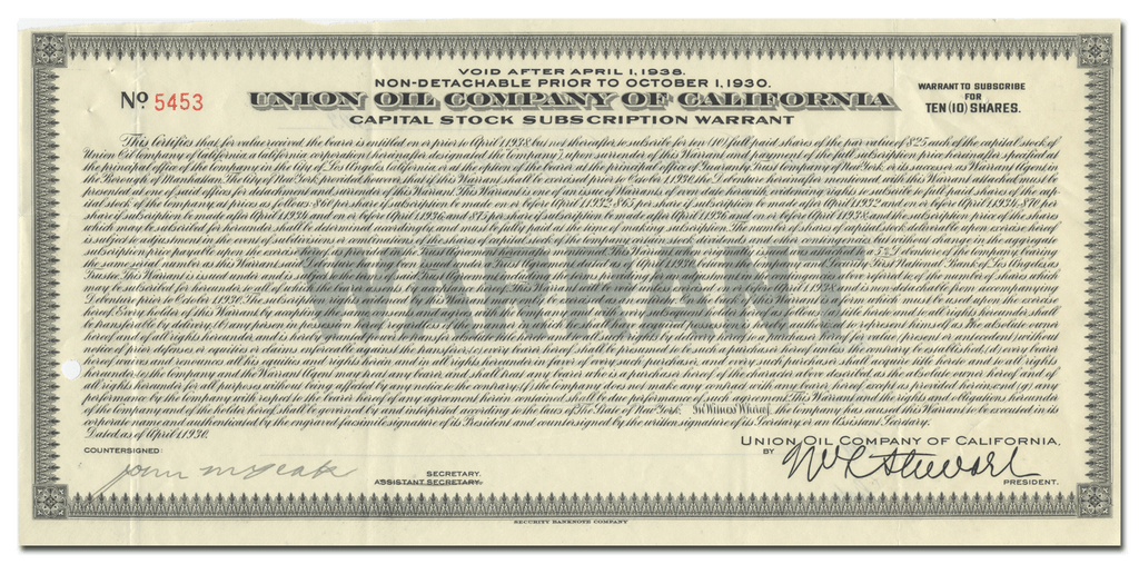 Union Oil Company of California Stock Certificate