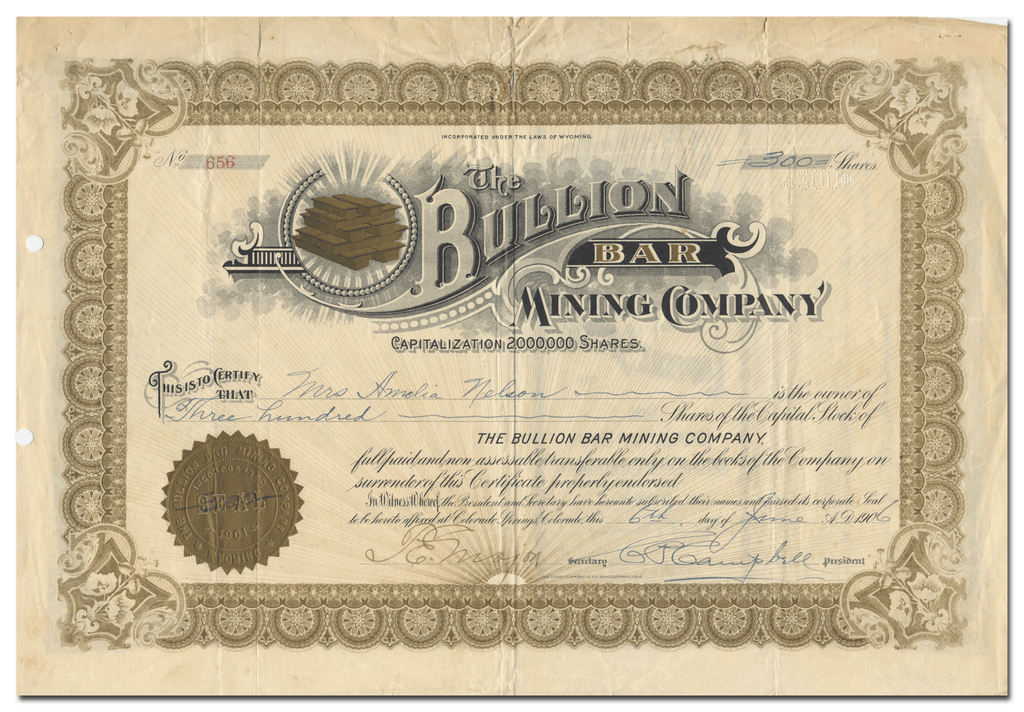 Bullion Bar Gold Mining Company Stock Certificate