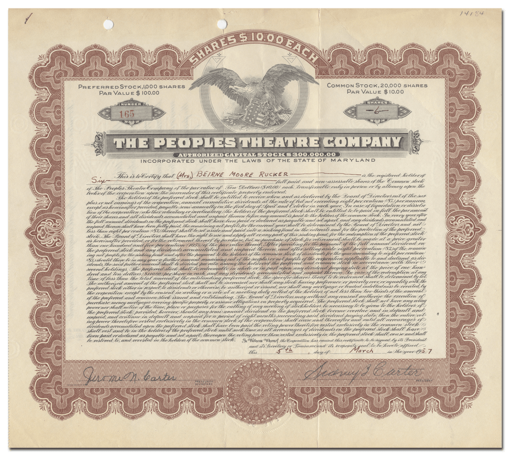 Peoples Theatre Company Stock Certificate