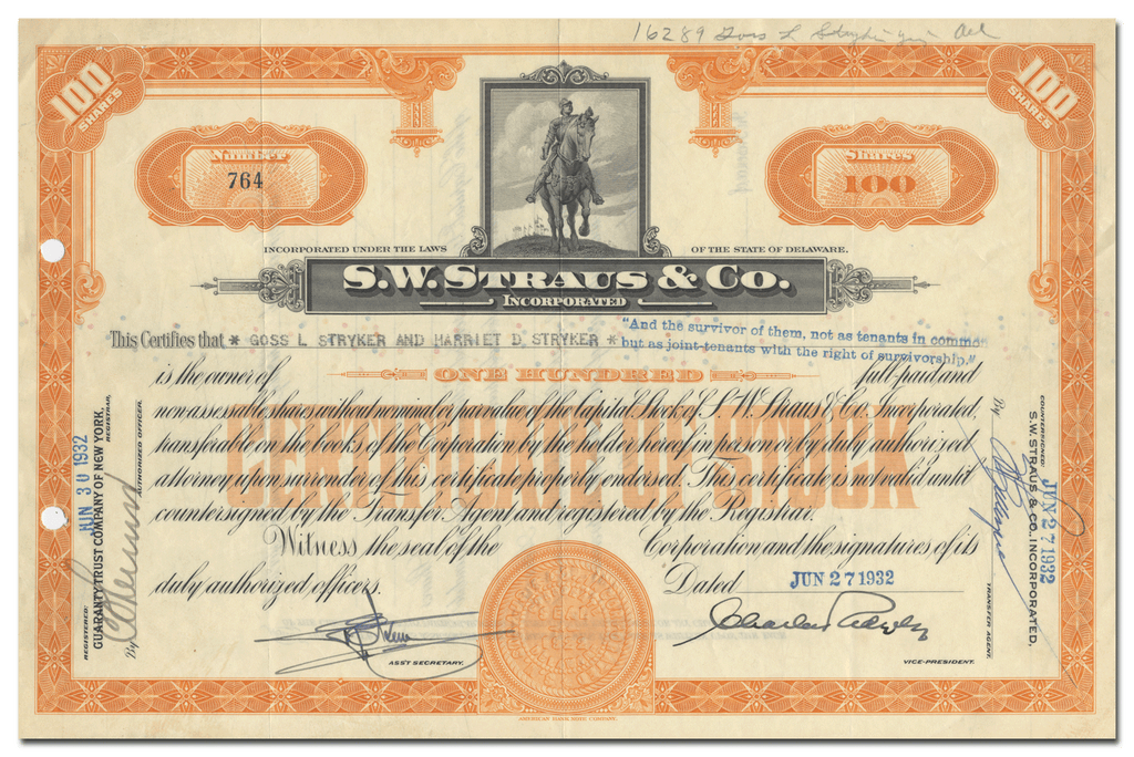 S. W. Straus & Co. Incorporated Stock Certificate