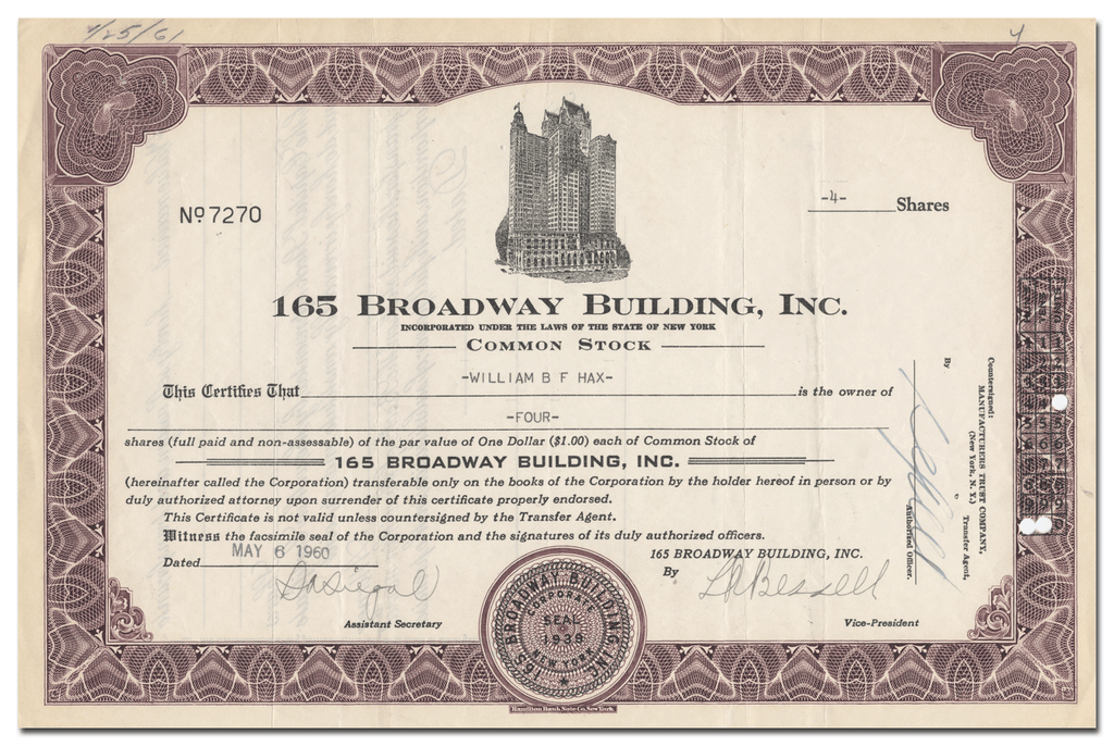 165 Broadway Building, Inc. Stock Certificate