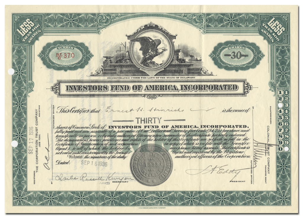 Investors Fund of America, Incorporated Stock Certificate