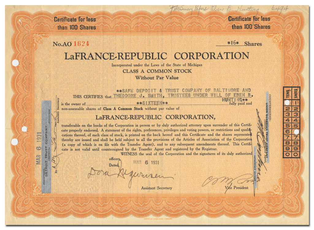 LaFrance-Republic Corporation Stock Certificate