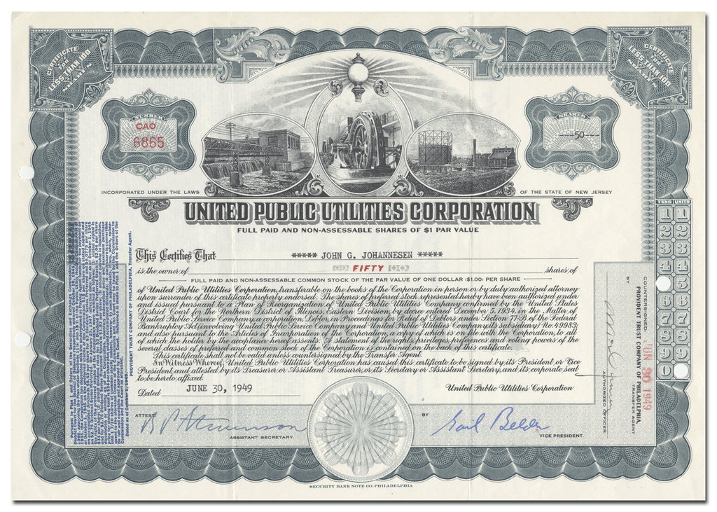 United Public Utilities Corporation Stock Certificate