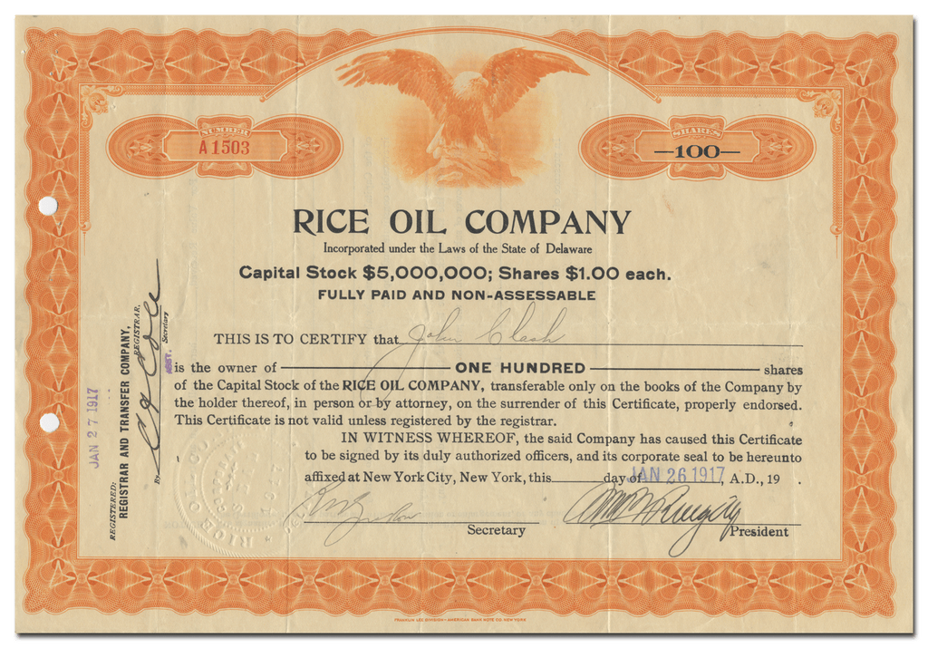 Rice Oil Company Stock Certificate
