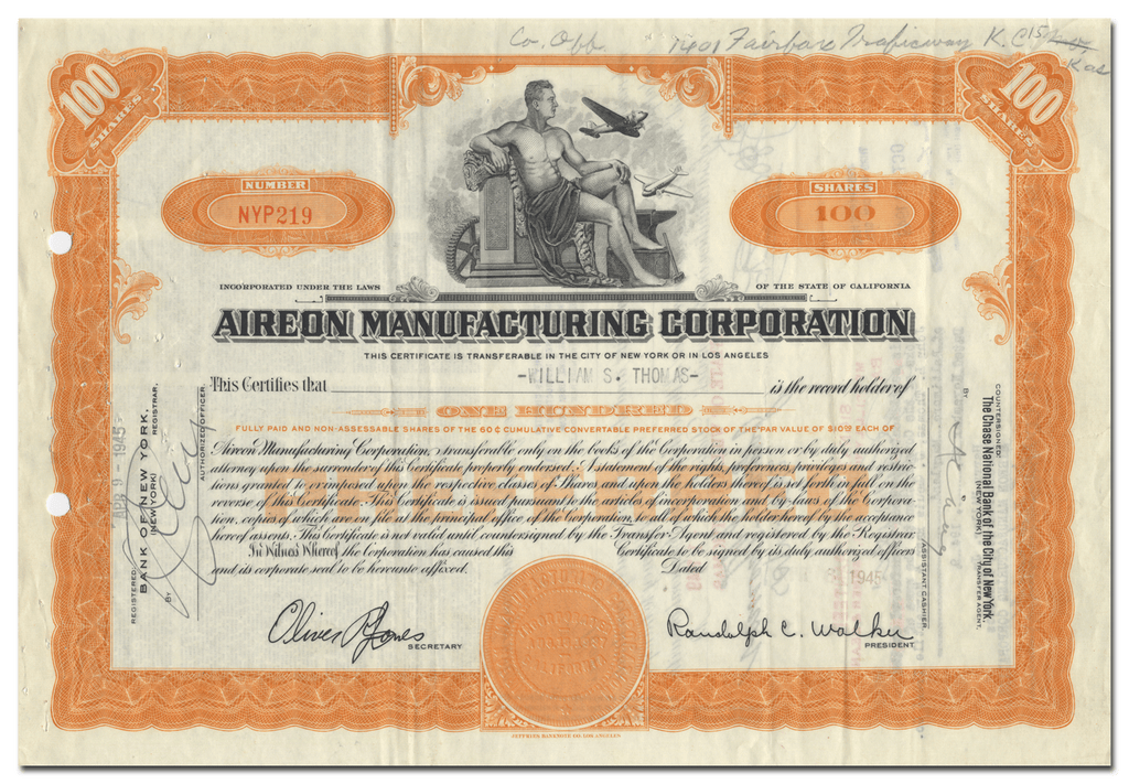 Aireon Manufacturing Corporation Stock Certificate