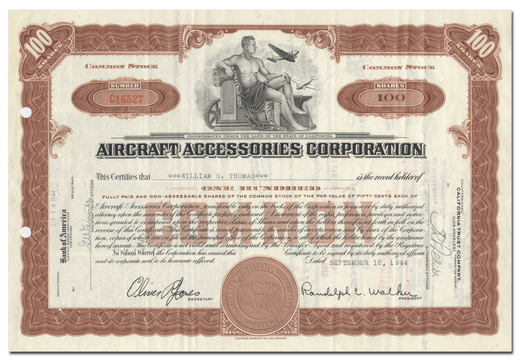 Aircraft Accessories Corporation Stock Certificate