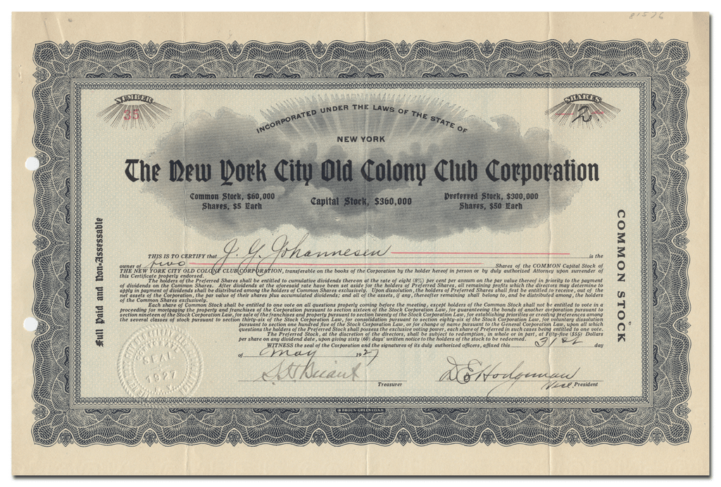 New York City Old Colony Club Corporation Stock Certificate