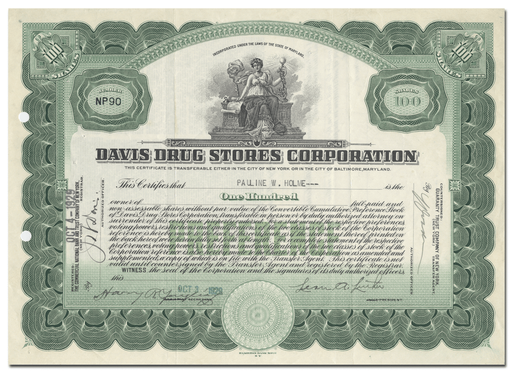 Davis Drug Stores Corporation Stock Certificate