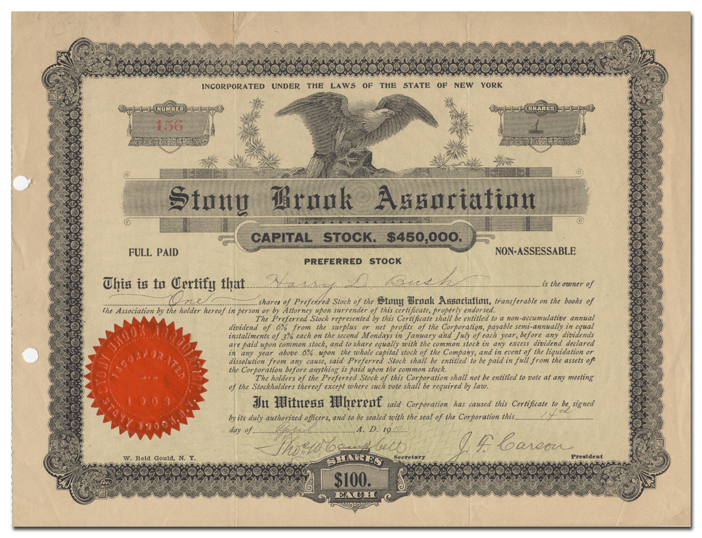 Stony Brook Association Stock Certificate