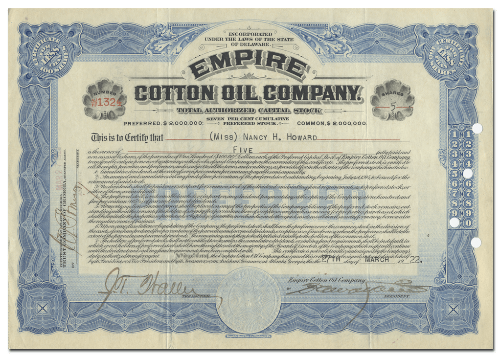 Empire Cotton Oil Company Stock Certificate