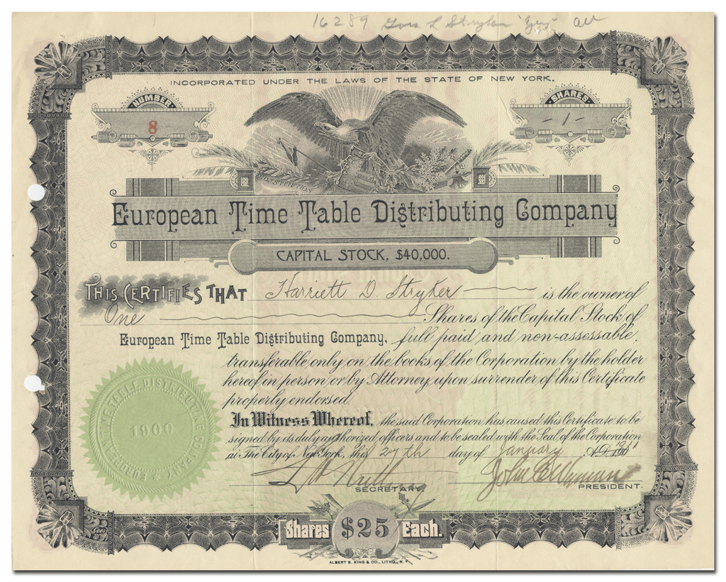 European Time Table Distributing Company Stock Certificate