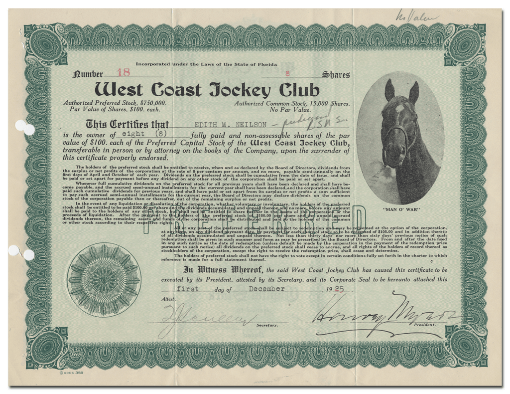 West Coast Jockey Club Stock Certificate