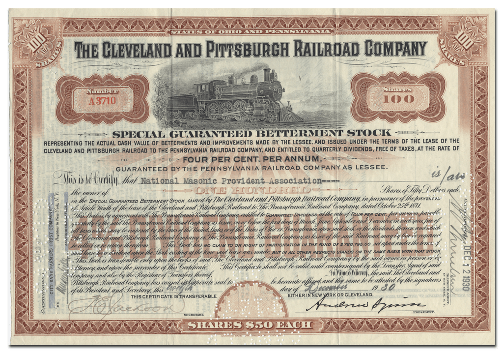 Cleveland and Pittsburgh Railroad Company Stock Certificate
