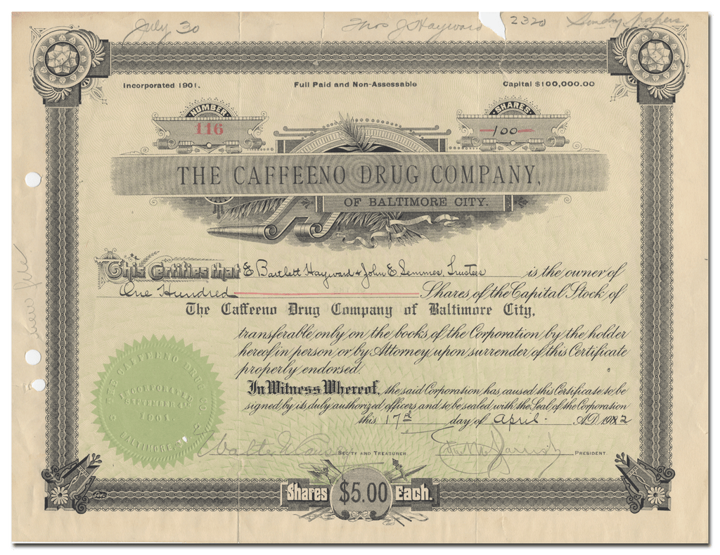 Caffeeno Drug Company of Baltimore City Stock Certificate