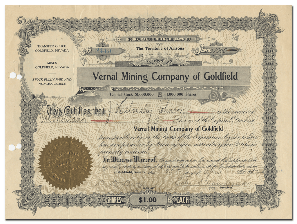 Vernal Mining Company of Goldfield