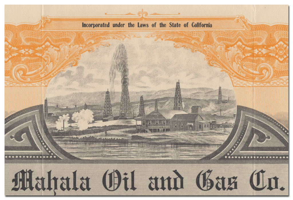 Mahala Oil and Gas Co. Stock Certificate