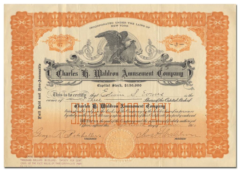 Charles H. Waldron Amusement Company Stock Certificate
