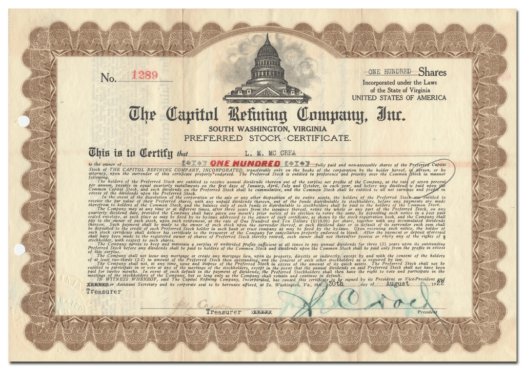Capitol Refining Company, Inc. Stock Certificate