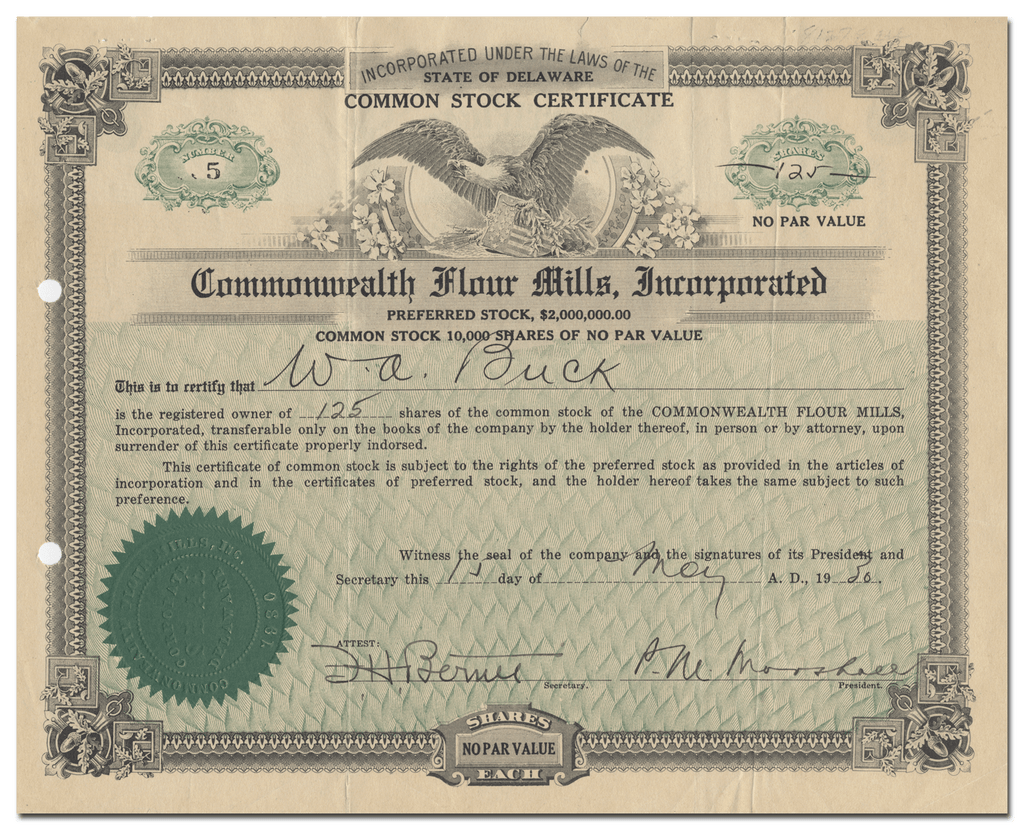 Commonwealth Flour Mills, Incorporated Stock Certificate
