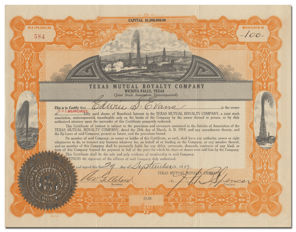 Texas Mutual Royalty Company Stock Certificate