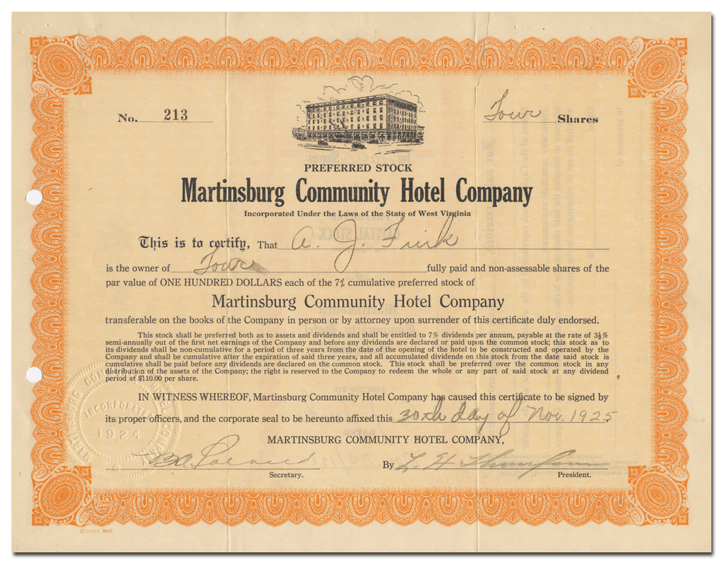 Martinsburg Community Hotel Company Stock Certificate