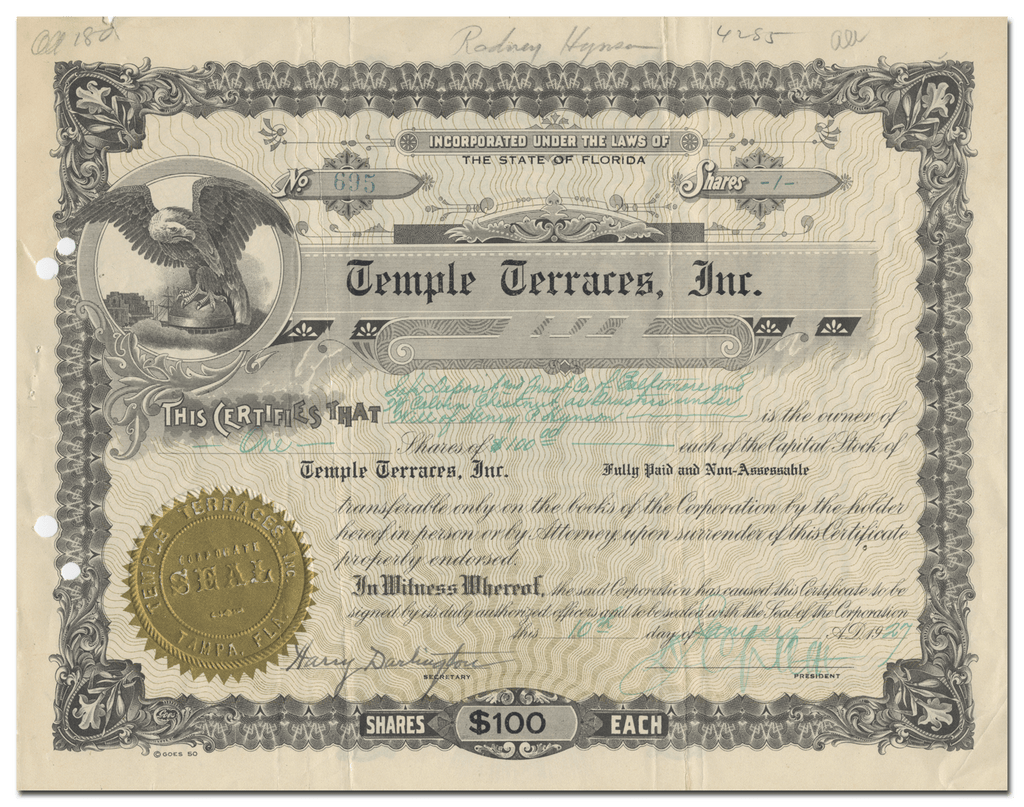Temple Terraces, Inc. Stock Certificate Signed by D. Collins Gillett