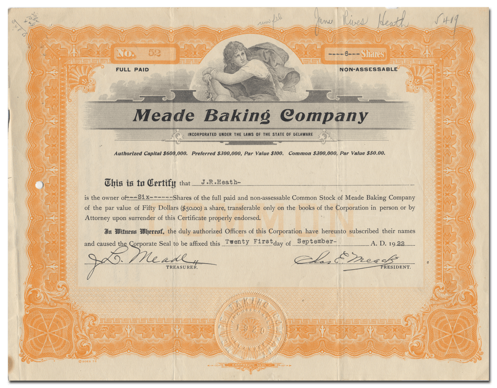 Meade Baking Company Stock Certificate