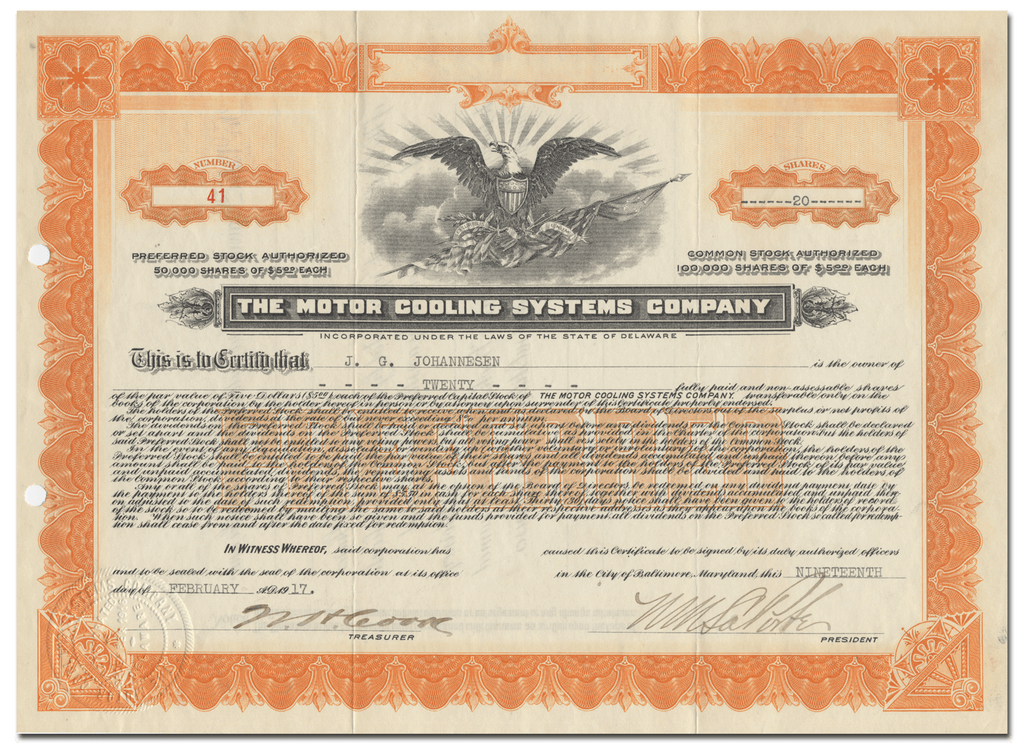 Motor Cooling Systems Company Stock Certificate