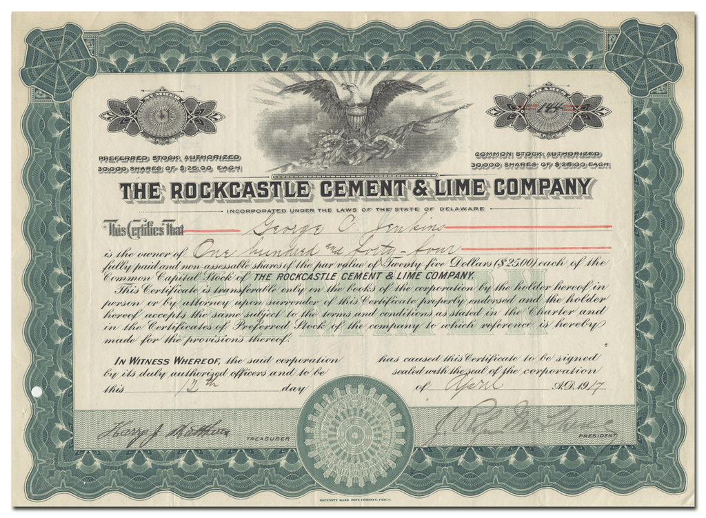 Rockcastle Cement & Lime Company Stock Certificate