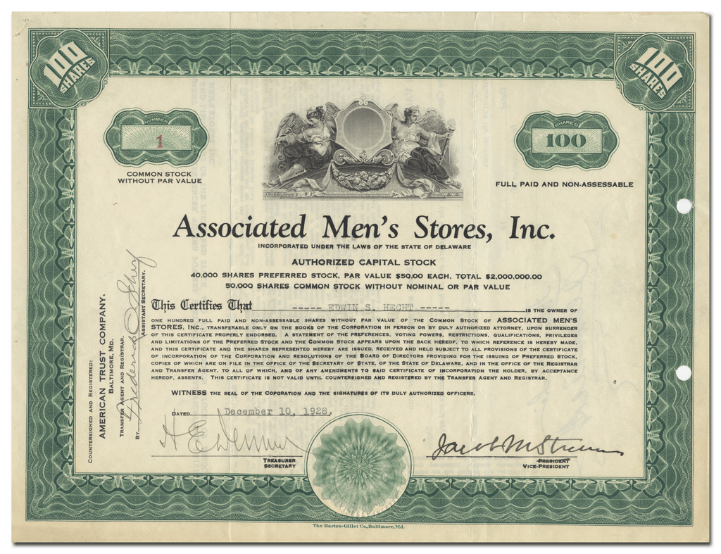 Associated Men's Stores, Inc. Stock Certificate (Certificate #1)