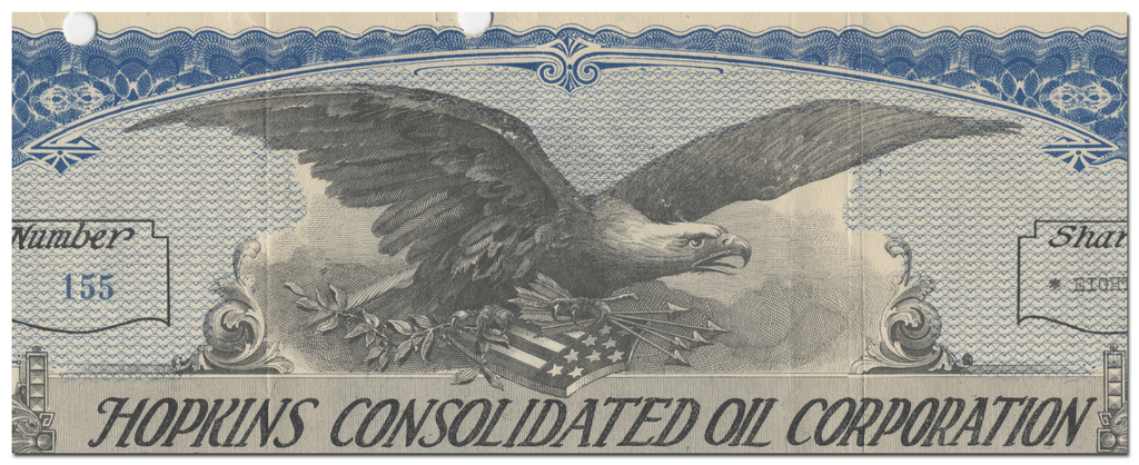 Hopkins Consolidated Oil Corporation Stock Certificate