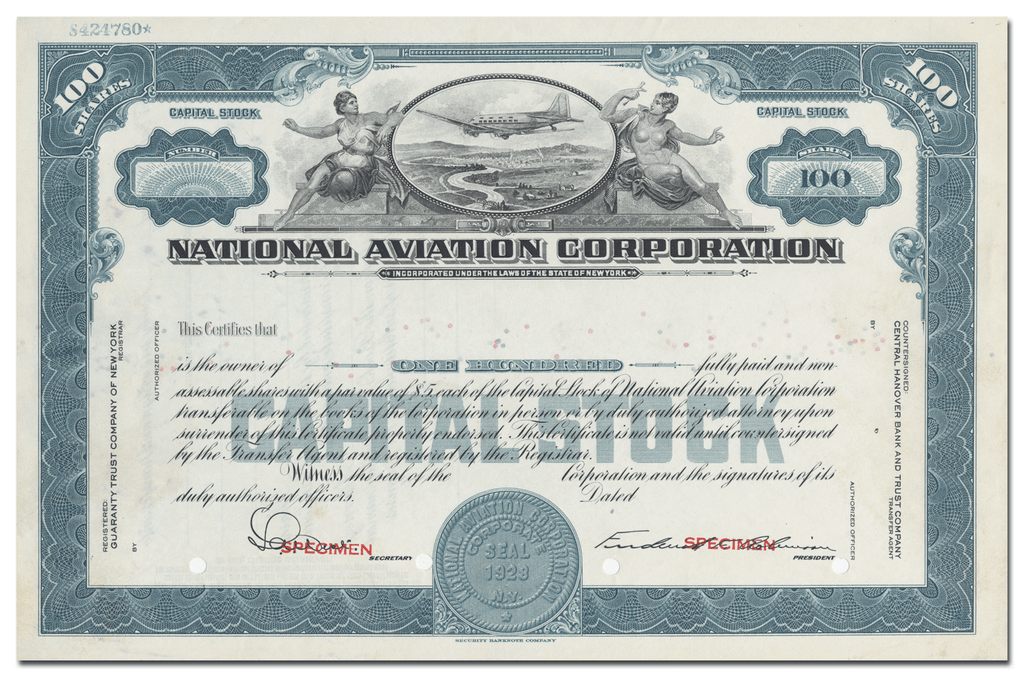 National Aviation Corporation Specimen Stock Certificate