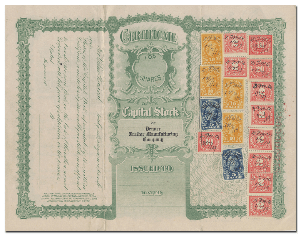 Denver Tractor Manufacturing Company Stock Certificate (Revenue Stamps on Verso)
